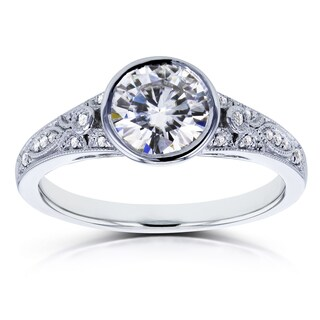 Annello by Kobelli 14k White Gold 1ct TGW Moissanite Bezel Set and Diamond Accent Vintage Engagement Ring