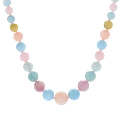 Michael Valitutti Palladium Silver Multi Color Beryl Graduated Bead Necklace