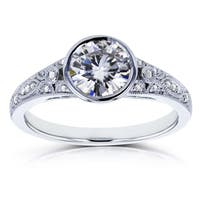 Annello by Kobelli 14k White Gold 1ct TGW Round Moissanite (HI) (H-i) Bezel and Diamond Accent Vintage Engagement Ring
