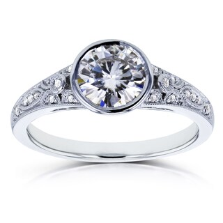 Annello by Kobelli 14k White Gold 1ct TGW Round Moissanite (H-i) Bezel and Diamond Accent Vintage Engagement Ring