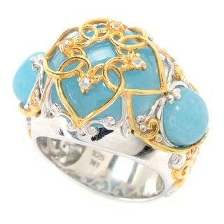 Michael Valitutti Palladium Silver Aquamarine Quartzite & White Sapphire Quatrefoil Overlay Ring