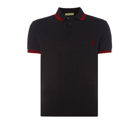 Versace Jeans Black Pique Logo Polo T-shirt