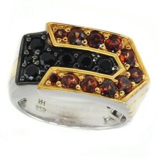 Michael Valitutti Palladium Silver Garnet & Black Spinel Men's Ring