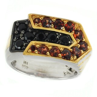 Michael Valitutti Palladium Silver Garnet & Black Spinel Men's Ring