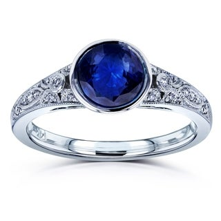 Annello by Kobelli 14k White Gold 1ct TGW Round Bezel Sapphire and Diamond Accent Vintage Engagement Ring