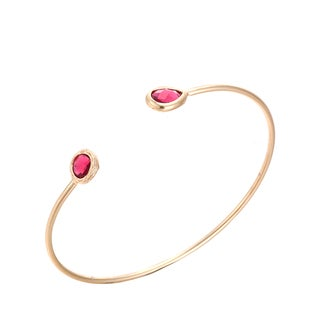 Gold Plated Duo CZ Plated Open Ended Bangle