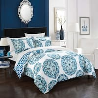 Chic Home 7-piece Aragona Blue Bed-in-a-Bag Duvet Set
