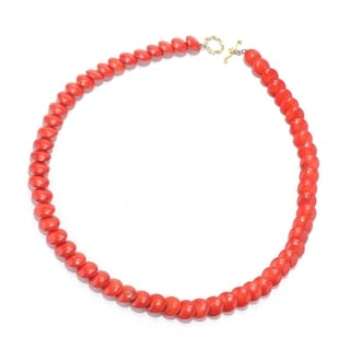 Michael Valitutti Palladium Silver Red Bamboo Coral Layered Disk Toggle Necklace