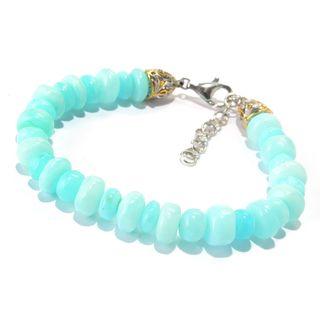 Michael Valitutti Palladium Silver Blue Peruvian Opal Beaded Bracelet