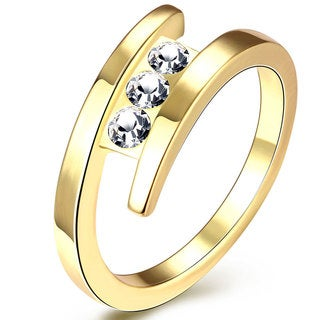 Hakbaho Jewelry Gold Plated Open End CZ Ring