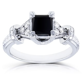Annello by Kobelli 14k White Gold 1 1/8ct TDW Princess Black Diamond Vintage Engagement Ring