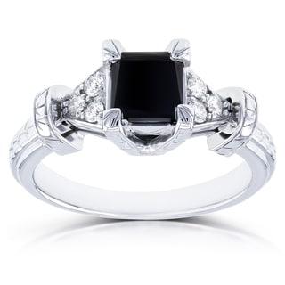 Annello by Kobelli 14k White Gold 1 1/8ct TDW Princess Black Diamond Vintage Engagement Ring