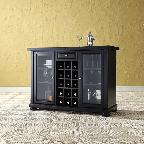 Alexandria Sliding Top Bar Cabinet  Black Finish