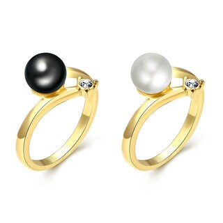 Hakbaho Jewelry Gold Plated Faux Pearl Ring CZ - 2 color options
