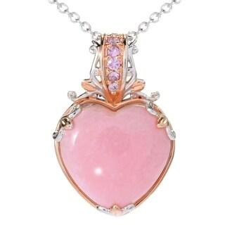 Michael Valitutti Palladium Silver Pink Peruvian Opal & Pink Sapphire Heart Pendant