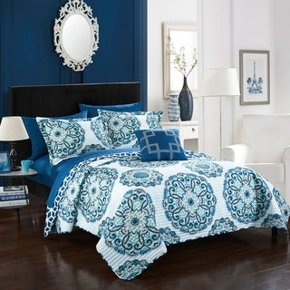 Chic Home 4-Piece Miranda Blue Quilt Set