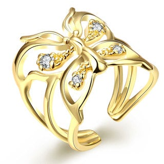 Hakbaho Jewelry Gold Plated Floral Design Overlay CZ Ring