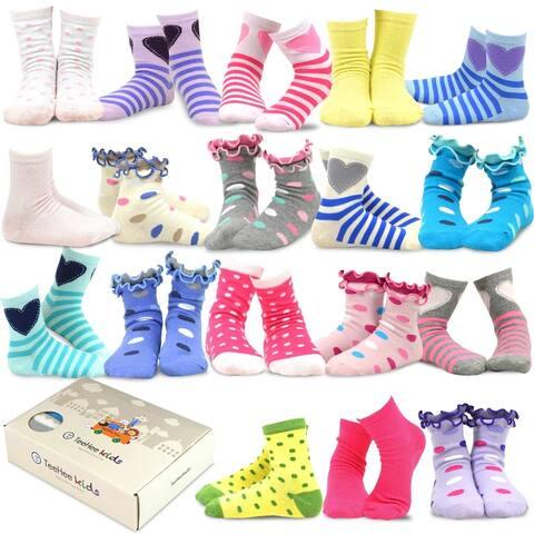 TeeHee Kids Girls Fashion Variety Cotton Crew 18 Pair Pack Gift Box (Fashion)