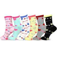 TeeHee Kids Girls Cotton Fashion Crew Socks 6 Pair Pack (Hearts Stripe)