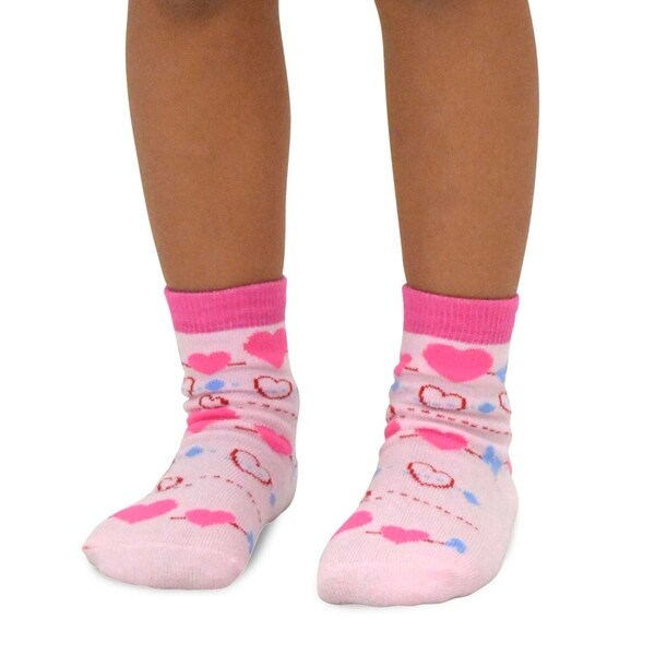 Jefferies Socks Girls Little Girls Dots//Hearts//Stripes Fashion Crew socks 6 Pairs Pack