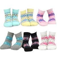 TeeHee Kids Girls Cotton Fashion Crew Socks 6 Pair Pack (Ethnic Stripe)