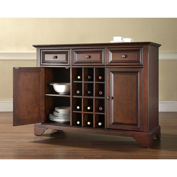 Shop LaFayette Buffet Server Sideboard Cabinet with Wine Storage in Vintage Mahogany Finish
