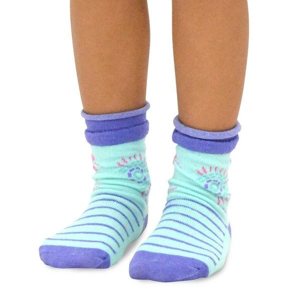 Gold Medal Big Girls Blue Violet Solid Patterned 3 Pc Butter Socks Pack 9-11