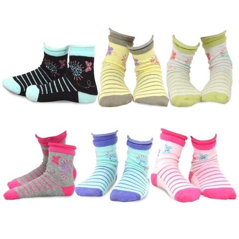 TeeHee Kids Girls Cotton Fashion Crew Socks 6 Pair Butterfly