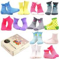 TeeHee Kids Girls Cotton Fashion Crew Socks 12 Pair Pack (Polka Dots & Stripes Ruffle)