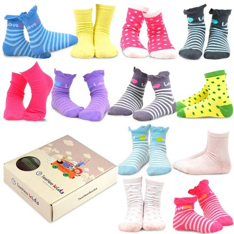 TeeHee Kids Girls Crew Socks 12 Pair Polka Dots & Stripes Ruffle