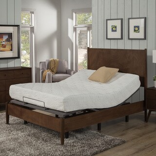 AC Pacific 10-inch Queen-size Gel Memory Foam Mattress and Deluxe Adjustable Bed Base Set