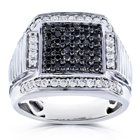 Annello by Kobelli 10k White Gold 1ct TDW Men's Diamond Ring