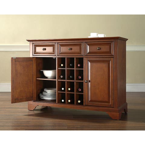 """LaFayette Buffet Server / Sideboard Cabinet with Wine Storage in Classic Cherry Finish - 47.75 """"W x 18 """"D x 36 """"H"""