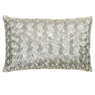 Silver Silk/ Taffeta Diamond Sequin Throw Pillow