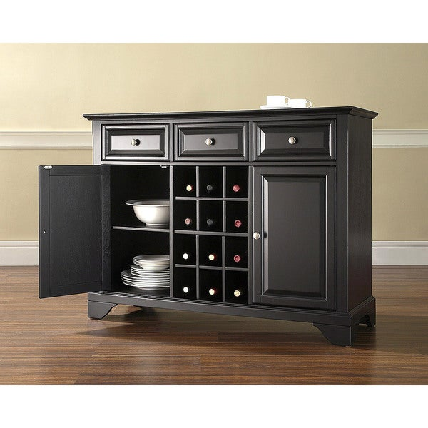 """LaFayette Buffet Server / Sideboard Cabinet with Wine Storage in Black Finish - 47.75 """"W x 18 """"D x 36 """"H"""