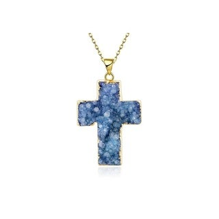 Hakbaho Jewelry Religious Cross Natural Crystal Necklace, Power Healing Chakra Stones - 6 Colors