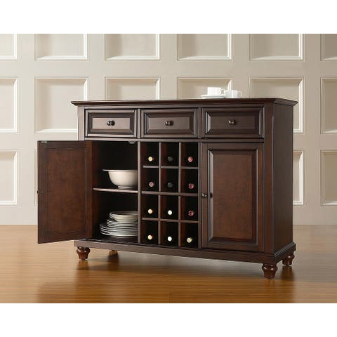 Cambridge Buffet Server / Sideboard Cabinet with Wine Storage in Vintage Mahogany Finish