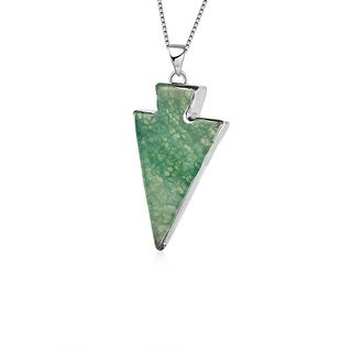 Hakbaho Jewelry Triangular Natural Agate Necklace, Power Healing Chakra Stones - 4 Colors