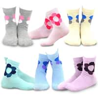 TeeHee Kids Girls Cotton Basic Crew Socks 6 Pair Pack (Flower)