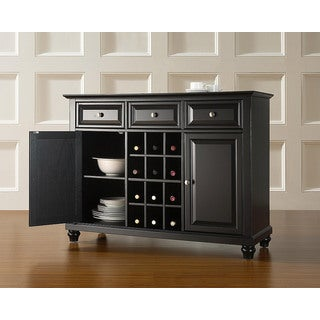 Cambridge Buffet Server / Sideboard Cabinet with Wine Storage in Black Finish
