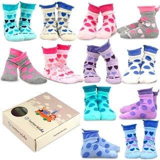 TeeHee Kids Girls Cotton Basic Crew Socks 12 Pair Pack (Large Dot & Hearts)