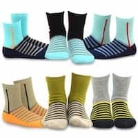 TeeHee Kids Boys Stripe Cotton Crew Socks 6 Pair Pack (Stripe)