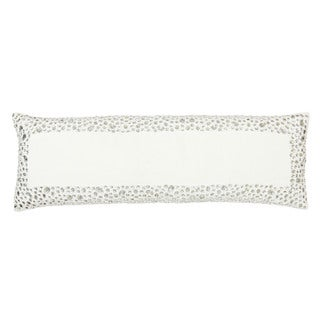 Sivaana Silver Linen Studded Border Throw Pillow