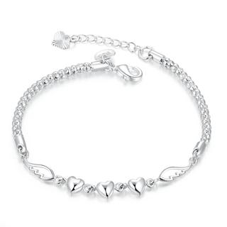 Hakbaho Jewelry Sterling Silver Trio Heart Pendant Chain Bracelet