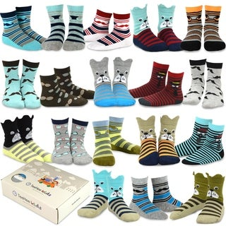 TeeHee Kids Boys Fashion Cotton Crew 18 Pair Pack Gift Box (Dog and Gentle)