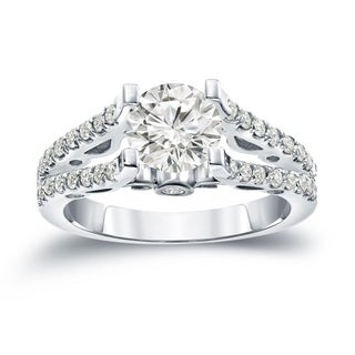 Auriya 14k Gold Certified 1 1/2ct TDW Round Diamond Split-Shank Engagement Ring