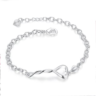 Hakbaho Jewelry Sterling Silver Intertwined Hollow Heart Chain Bracelet