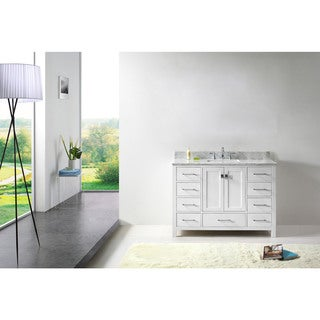 Virtu USA Caroline Avenue 48-inch Square White Marble Single Bathroom Vanity Set without Mirror