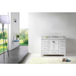 Caroline Avenue 48-inch White Marble Single Bathroom Vanity No Mirror