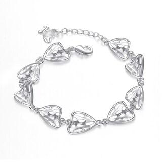 Hakbaho Jewelry Sterling Silver Multi Laser Cut Pyramid Bracelet